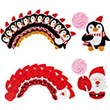 Fliyeong Premium 50pcs Santa Claus Penguin Lollipop Christmas Card Holder lolly sugar-loaf Xmas Party Toys santa claus