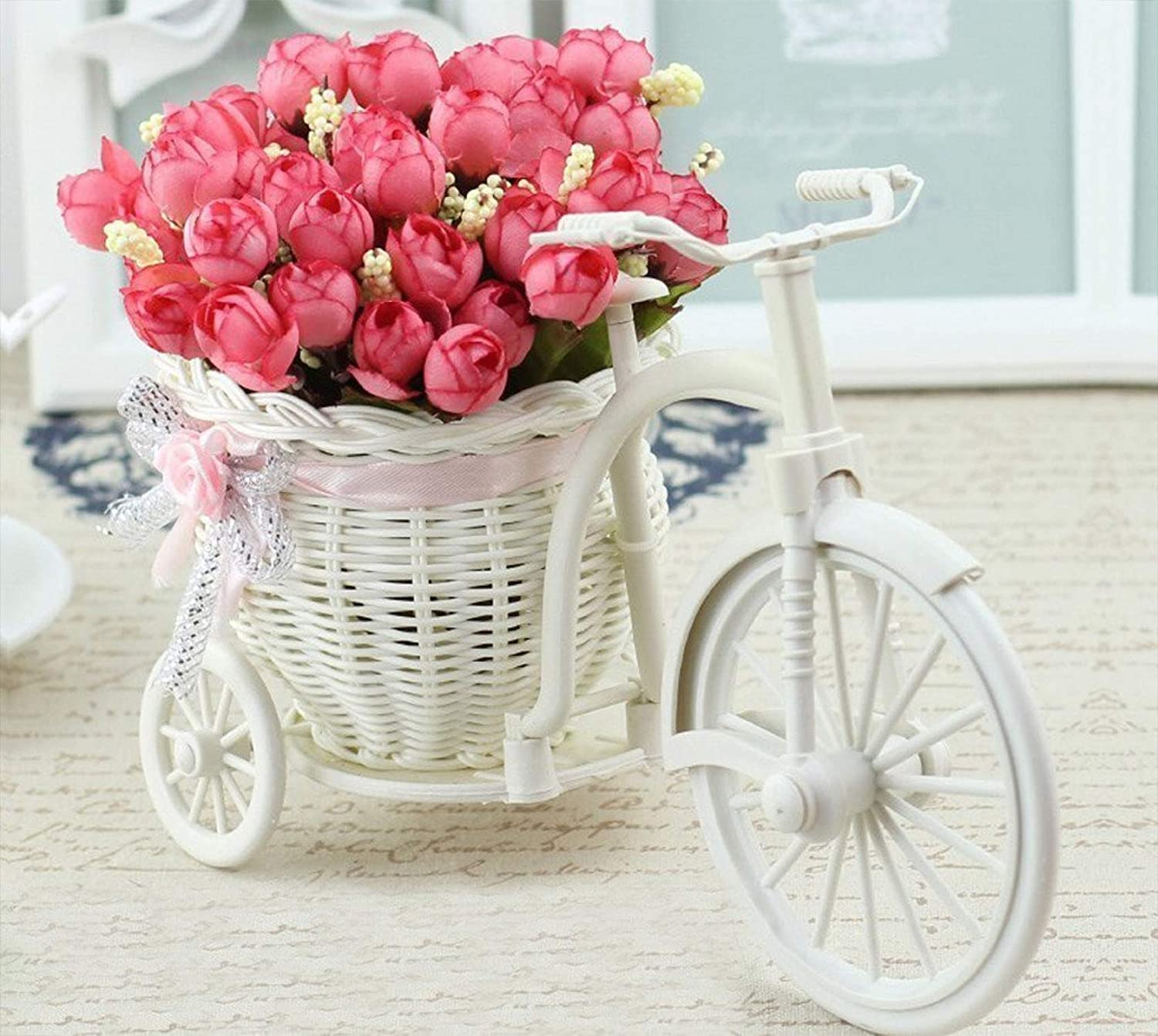 TIED RIBBONS Artificial Peonies Flowers with Cycle Shape Vase Basket Pot