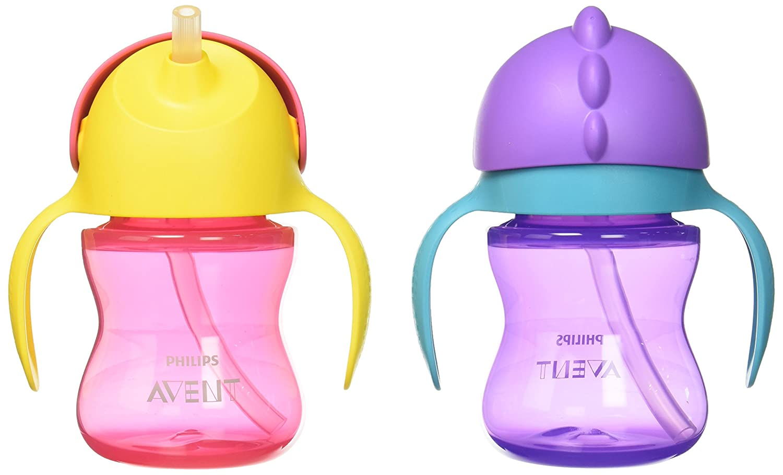 Philips Avent My Bendy Straw Cup, 7oz, 2pk, Pink/Purple, SCF790/22