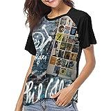 LANDONL Phil Collins The Singles Womens Short Sleeve Raglan Baseball Tshirts Black