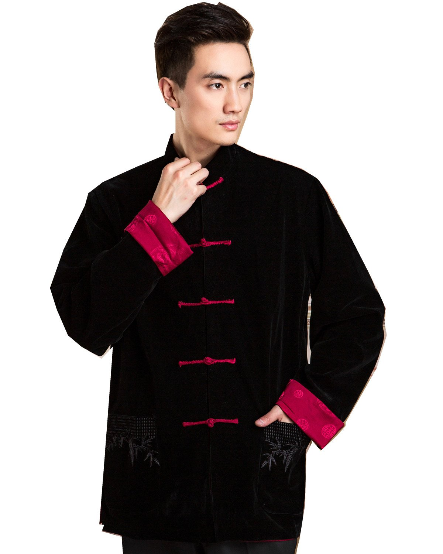 Shanghai Story Men's Chinese Tang Suit Reversible Kung Fu Jacket XL Black Red