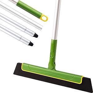 Eyliden Floor Squeegee Broom,51inch Long Handle Foam Squeegee for Shower Bathroom Home Kitchen Tile Pet Hair Glass Window Marble Water Foam Cleaning (Green)