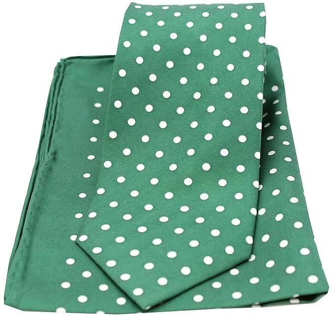 Soprano verde y blanco lunares Impreso Seda Corbata y Pañuelo Set ...
