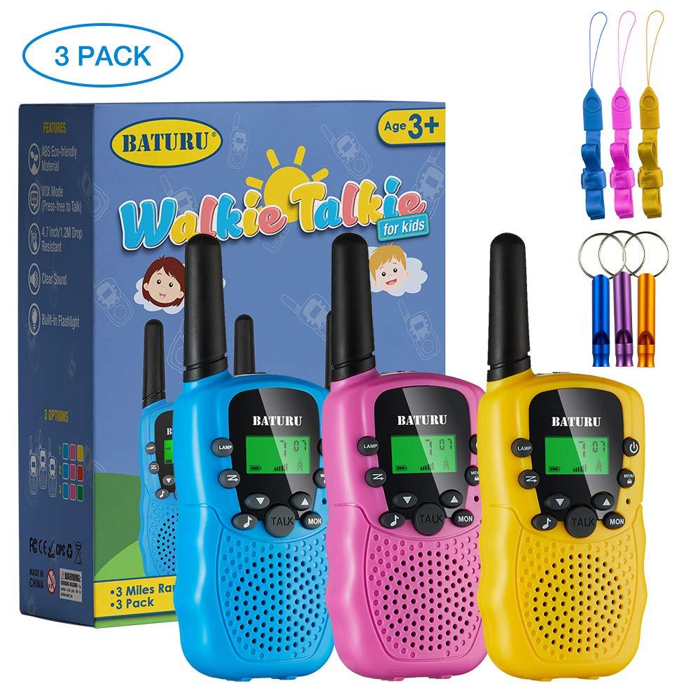BATURU Walkie Talkies for Kids 3 Pack, 2 Way Radio Toy Walkie Talkie, 3 4 5 6 7 8 9 Year Old Toy Boys and Girls, Walky Talky Long Range (Blue+Pink+Yellow)