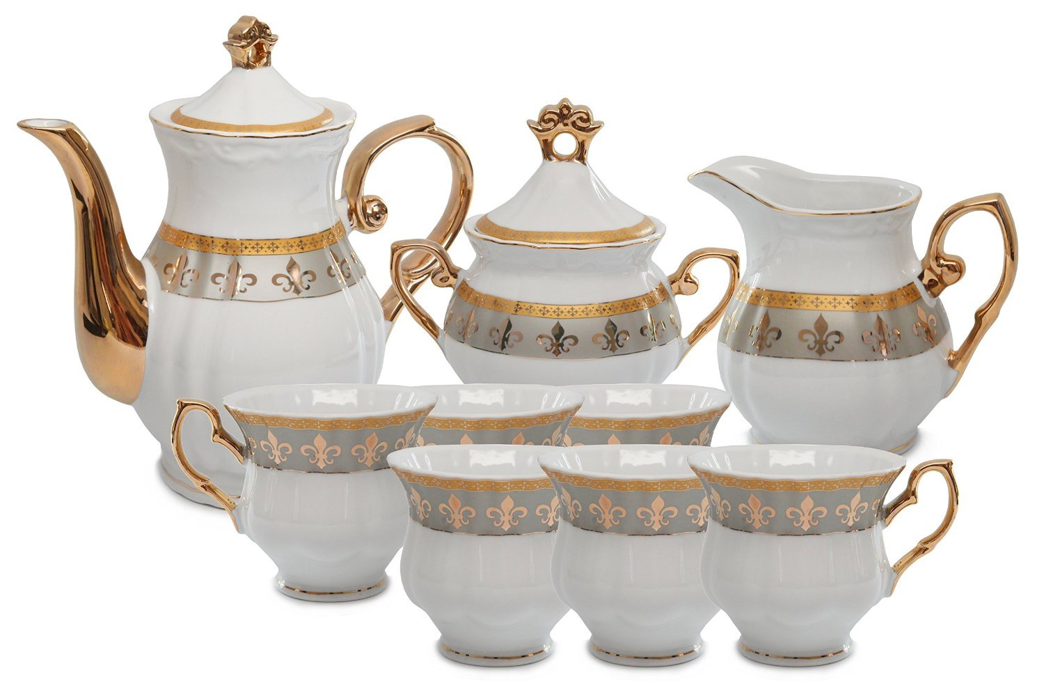 Royalty Porcelain 15pc Fleur-de-Lis Tea Set, Service for 6, 24K Gold-Plated Bone China Tableware