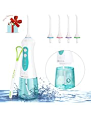 Water Flosser for Teeth,Cordless Portable Dental Oral Irrigator Rechargeable with 4 Jet Nozzles,a Tongue Scraper Cleaner and 3 Water Pressure,for Travel and Home Use