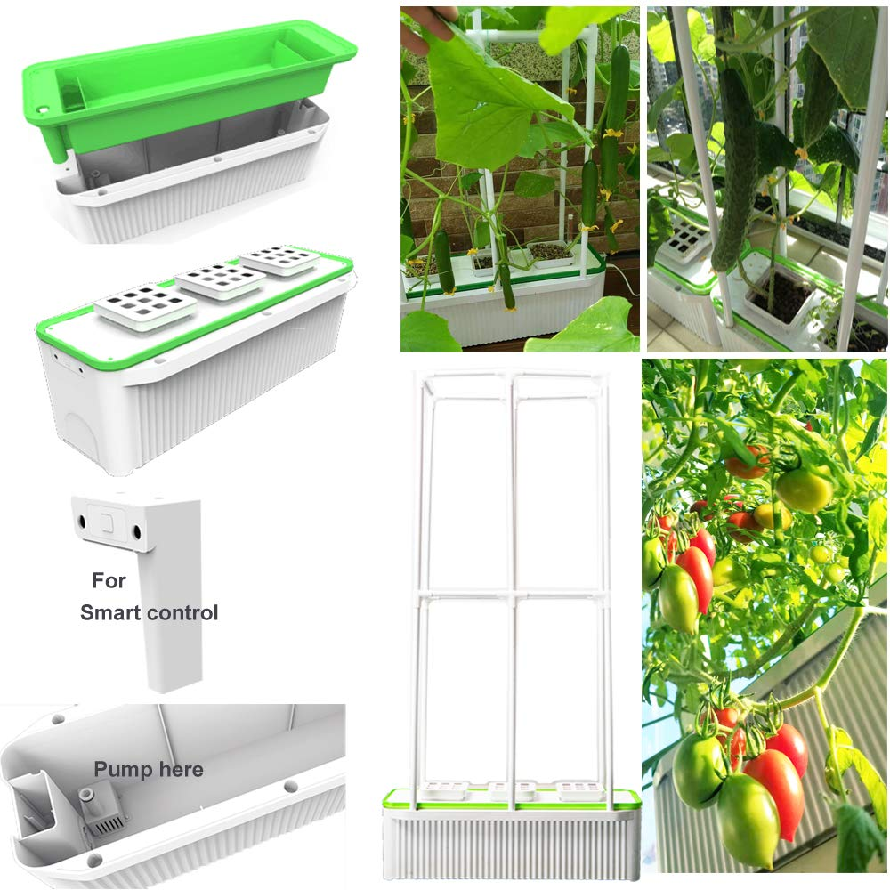 Big Smart Indoor Hydroponics Growing System Self Watering Planter for Big Climbing Vegetables with Built-in Pump and Smart Reminder Plus 60'' Climbing Trellis Super hydroponics Growing System by E SUPEREGROW