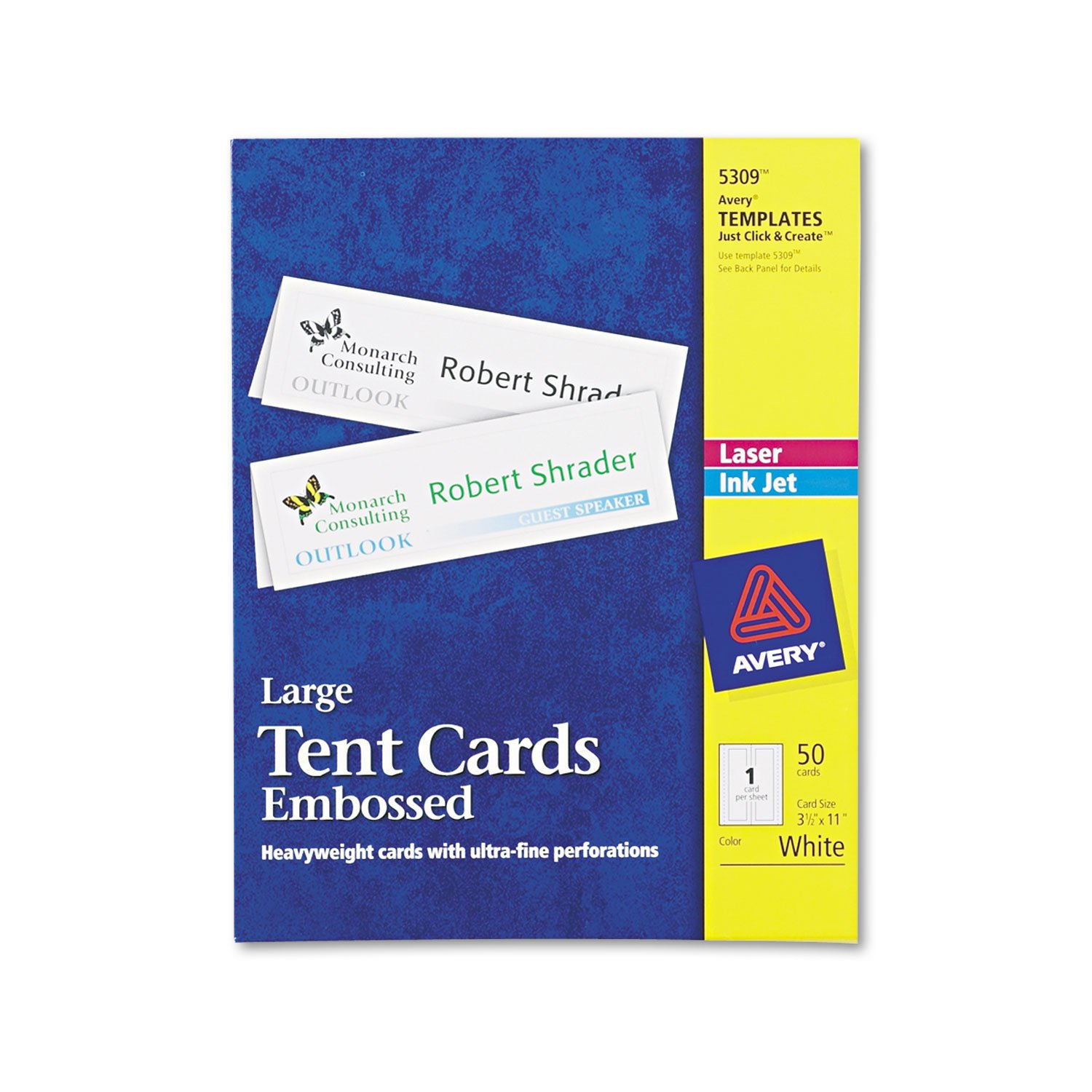 Avery 5309 Laser/Inkjet Tent Cards,Large,Perforated,3-1/2-Inch x11-Inch,50/BX,WE