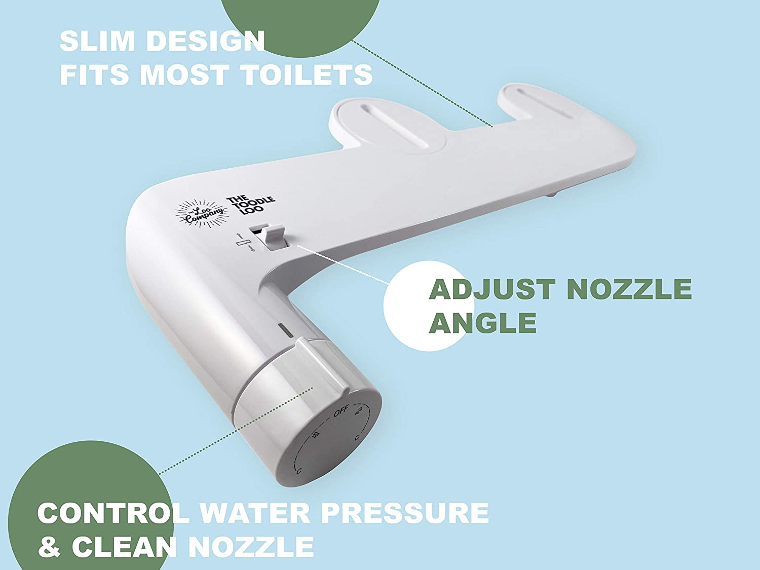 Adjustable Self Cleaning Nozzle Fresh Water Sprayer Non-Electric Toodle Loo Bidet Toilet Seat Attachment