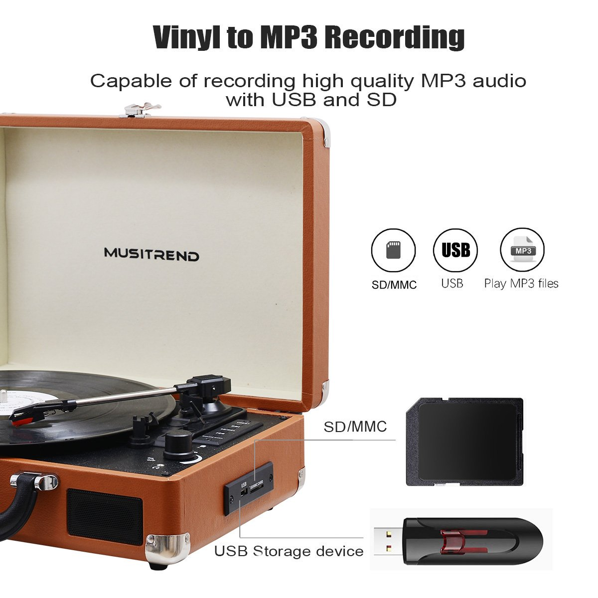 Musitrend Bluetooth Record Player Portable Suitcase Turntable with Built-in Speakers, USB/SD Recorder, Rechargable battery, Headphone Jack, RCA line out, Brown