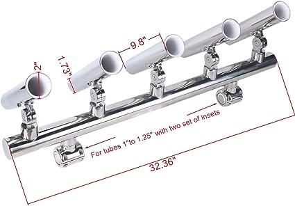 Adjustable  Stainless Rod Holder 5 Tube Rod Holder Rocket Launcher Durable New