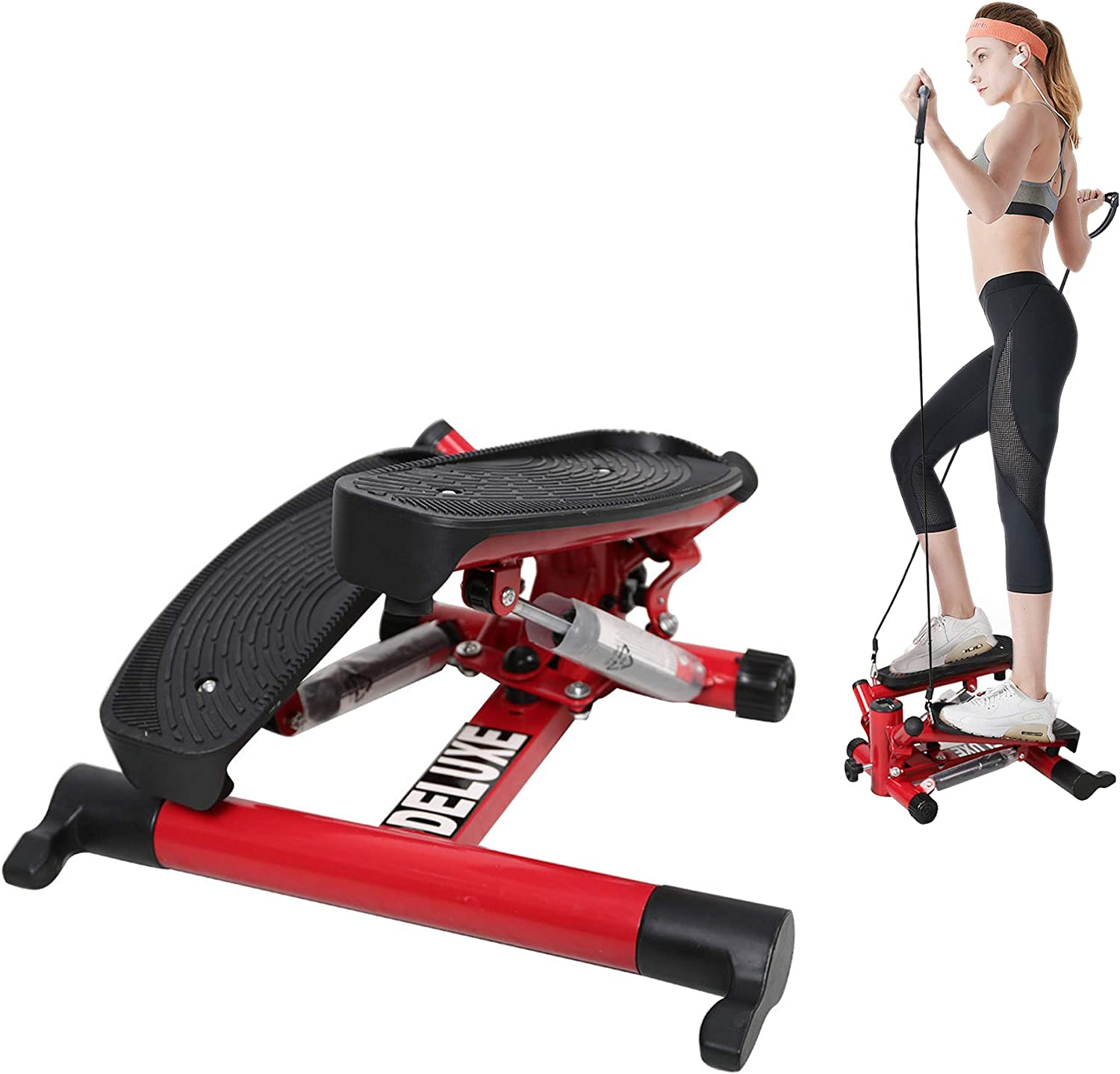 Exercise Mini Stepper Machine Workout Step Trainer Climber with Resistance Bands