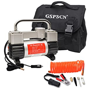 GSPSCN Silver Tire Inflator Heavy Duty Double Cylinders with Portable Bag 12V Metal Air Compressor Pump 150PSI with Adapter for Car, Truck, SUV Tires, Dinghy, Air Bed etc