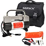 GSPSCN Silver Tire Inflator Heavy Duty Double Cylinders with Portable Bag, Metal 12V Air Compressor Pump 150PSI with Adapter