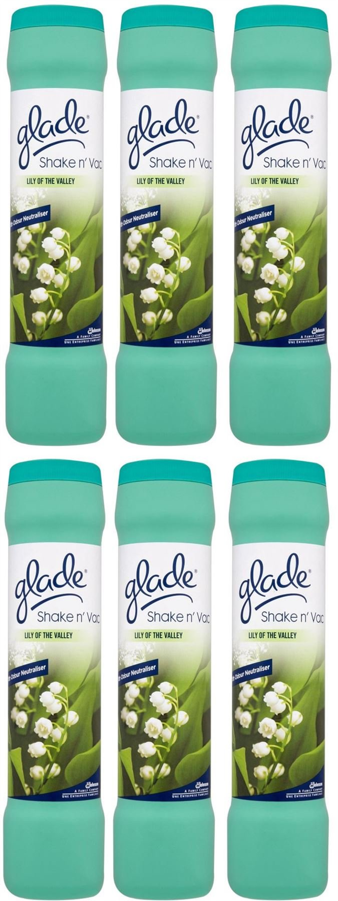 6 x Glade Shake 'n' Vac Lily Of The Valley Carpet Cleaning Powder 500gm by Glade