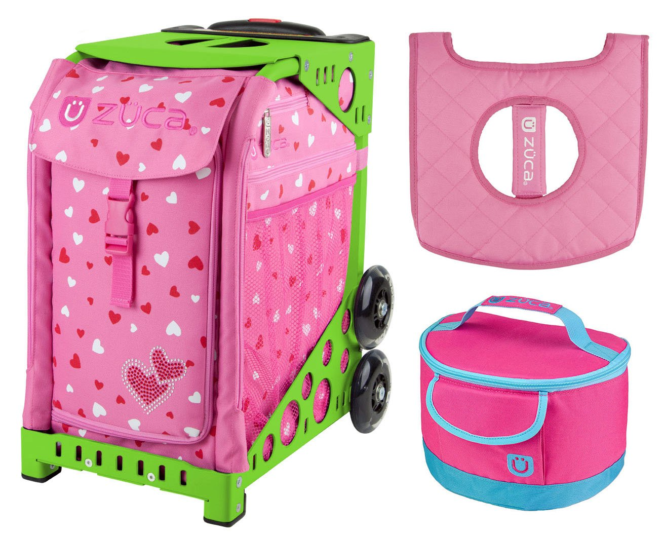 Zuca Sport Bag - Sweet Heartz with gift Lunchbox and Seat Cover (Green)