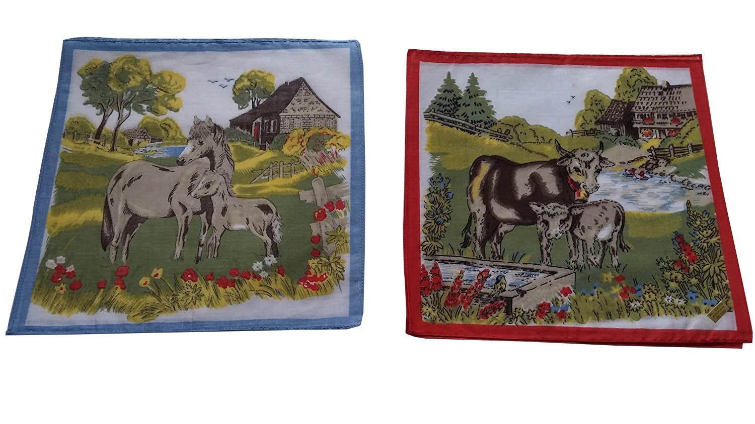 12PK Childrens 10'' Farm Animals Hankies, Handkerchief , Assorted Prints