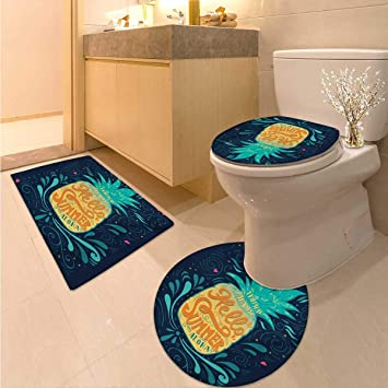 Amazoncom Anhuthree Tropical Bath Mat And Toilet Mat Set Hello