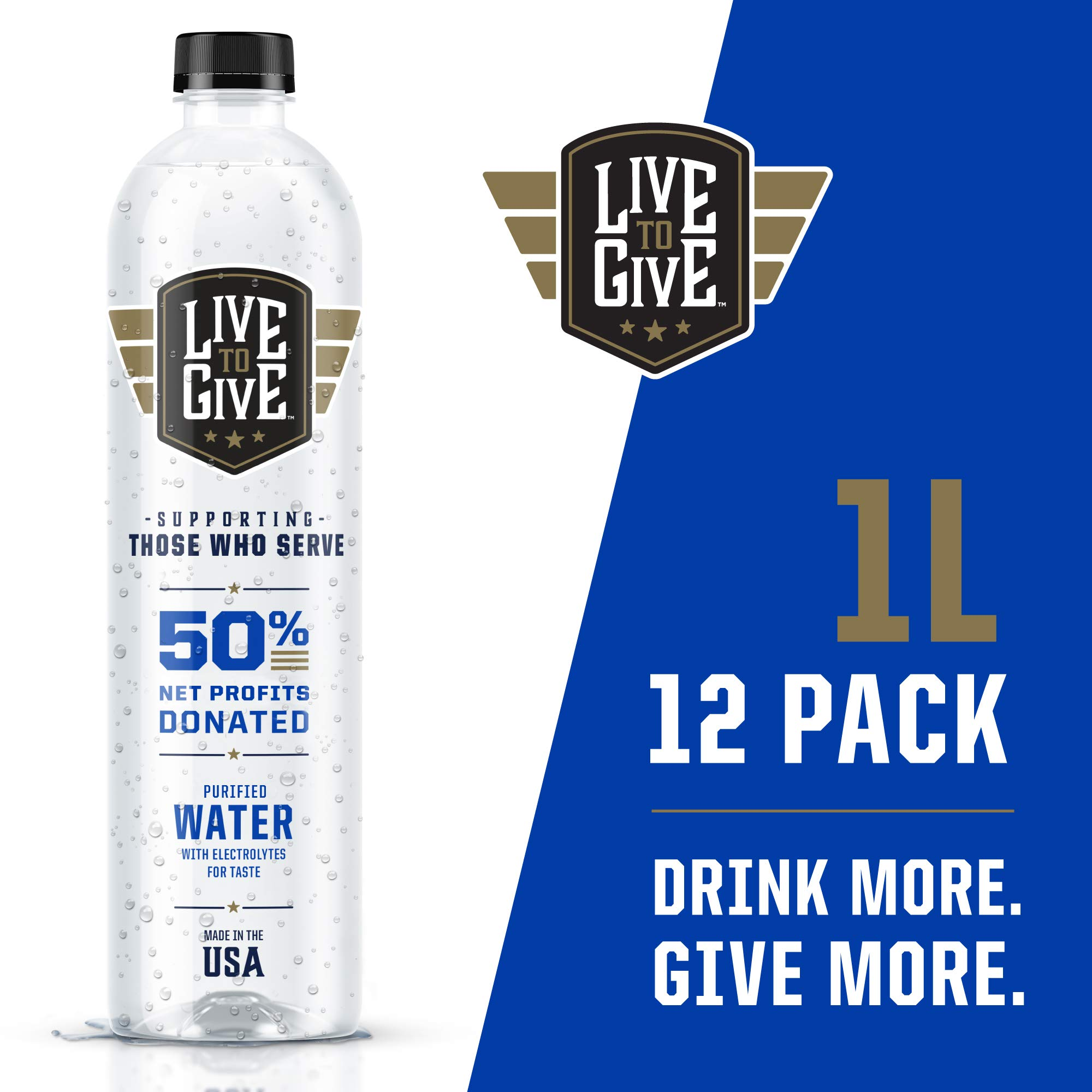 Live to Give 1L (12 pack) Premium Purified Water pH Balanced with Electrolytes For Taste, 50% of Net Profits Donated to Military & First Responder Families in Need by Live to Give