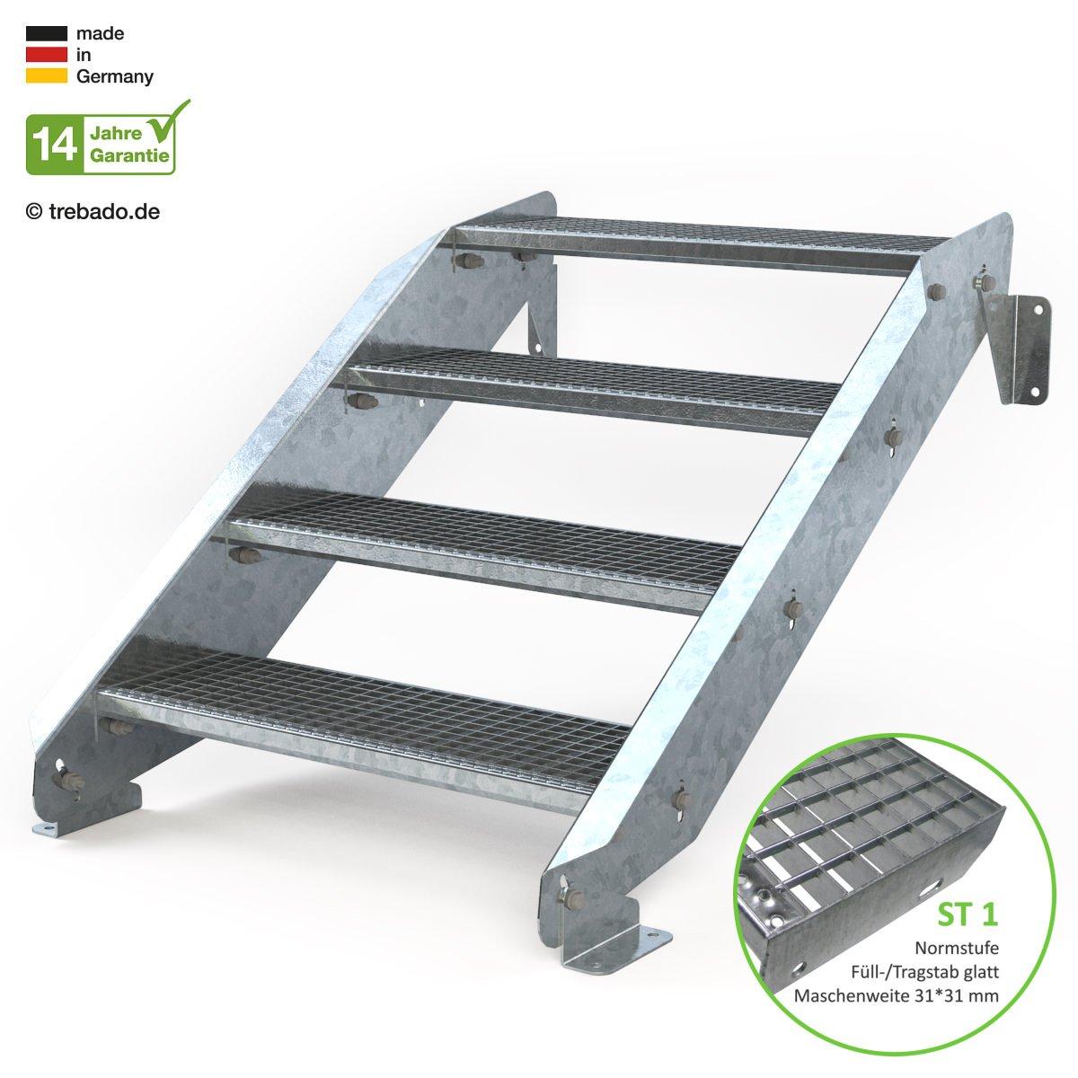 Anstellh/öhe variabel von 62 cm bis 84 cm ohne Gel/änder Au/ßentreppe 4 Stufen 80 cm Laufbreite feuerverzinkte Stahltreppe mit 800 mm Stufenl/änge als montagefertiger Bausatz Gitterroststufe ST1