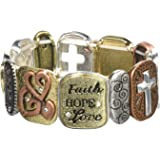 Alora Tile Stretch Bracelet, Faith, One Size