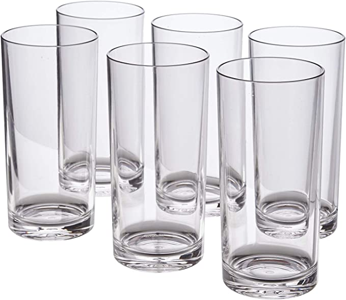 Classic 16 Ounce Premium Quality Plastic Water Tumbler Clear Set Of 6 Mixed Drinkware Sets Amazon Com