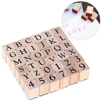 ULTNICE Sellos de alfabeto Establecer Sello de madera Sellos de carta de número de caucho 26 Letras en mayúscula y 10 números: Amazon.es: Juguetes y juegos