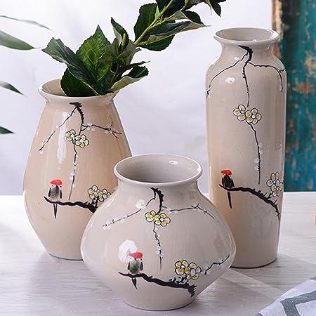 3 Pack Ceramic Glaze Vaseexquisite Flower And Bird Painting Pottery