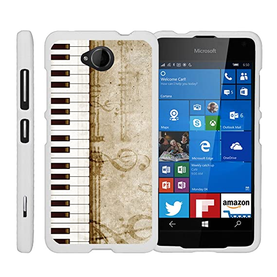 TurtleArmor | Microsoft Lumia 650 Case [Slim Duo] Slim Fitted Compact Hard  Protector Snap On Case Rubberized Finish on White Music Design - Piano Keys