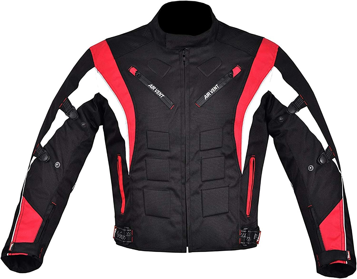 NORMAN Mens Motorcycle Motorbike Jacket Waterproof Textile with CE Armoured Red//Black