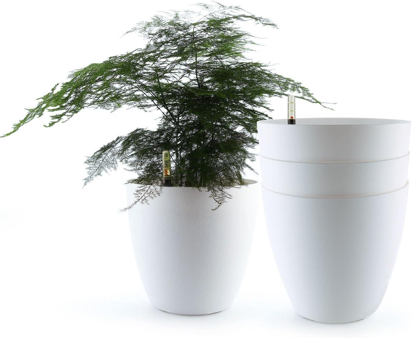 T4U Auto Riego Plantador Blanco 22CM Ronda Paquete de 4, Planta Maceta Cajas para Interiores Al Aire Libre Jardines de Windowsill Idea Regalo para Cumpleaños y Boda y Navidad