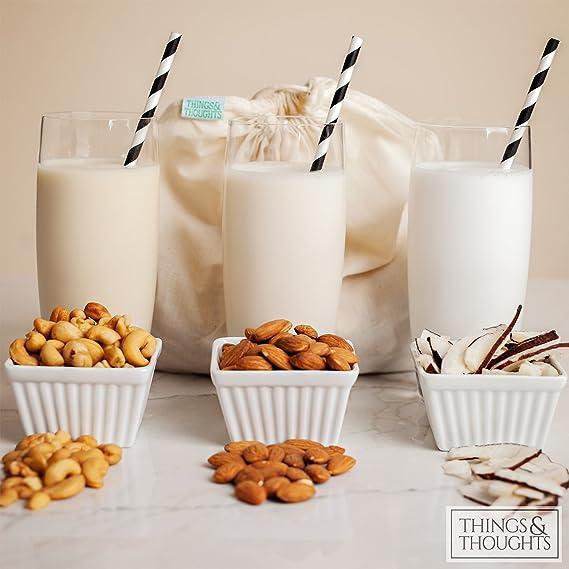 ... calidad alimentaria Estameña por cosas y pensamientos | respetuoso con el medio ambiente reutilizable Colador para leche de almendras,, exprimir, yogur, ...