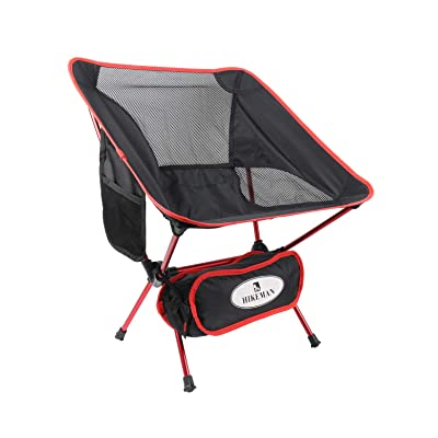 Hikeman Ultralight Portable Foldable Camping Backpacking Chairs Carry Bag, Lightweight Breathable Comfortable Folding Picnic (Red): Kitchen & Dining
