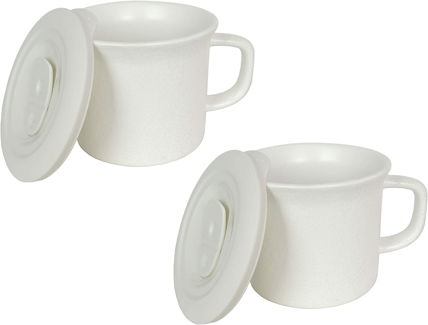Corningware 20 Ounce Hammered White Meal Mug With Vented Lid - 2 Pack