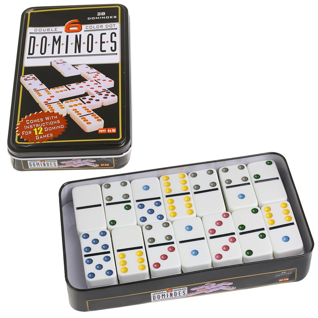 Amazon Ujuly 28pcs Dominoes Double 6 Color Dot With Metal Box