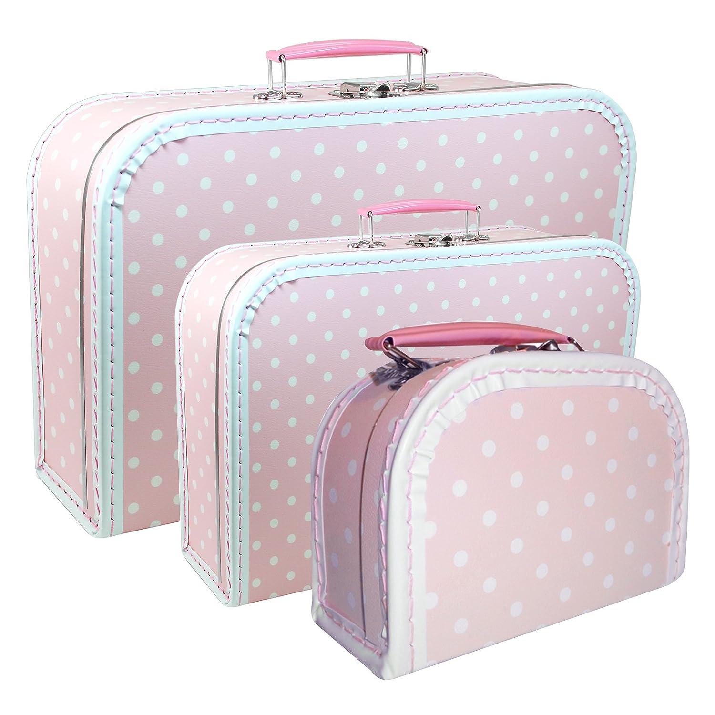 Juego de 3 maletín infantil (con borde) cartón color rosa ...