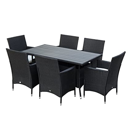 Outsunny 7ps Outdoor Rattan Dining Set Garden Wicker Patio Furniture