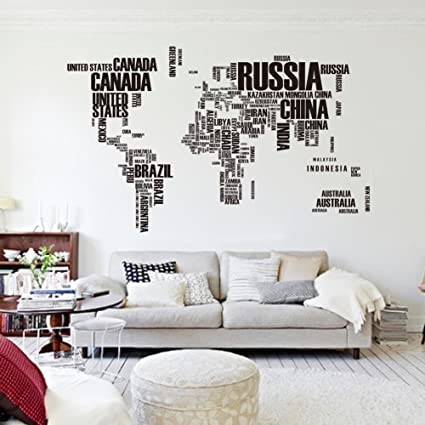 Vinyl world map wall sticker dcor full adhesive art wall decal for vinyl world map wall sticker dcor full adhesive art wall decal for living room gumiabroncs Choice Image