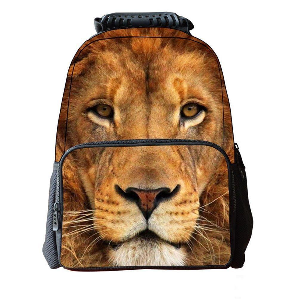 FENICAL Zaino per bambini 3D Animal Print School Zaino per bambini Unisex Satchel Rucksack (Lion Head)