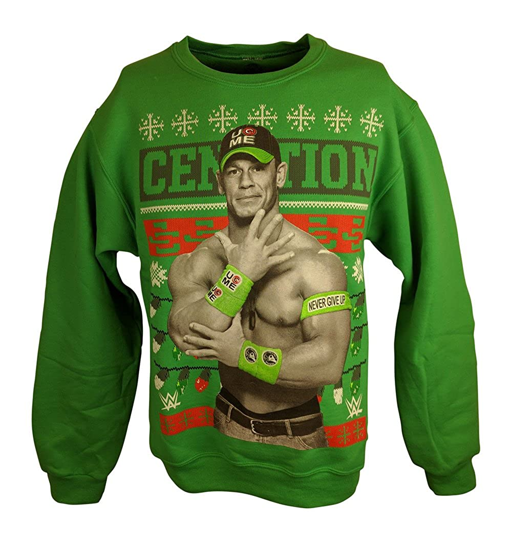 Amazon.com: John Cena WWE Green Ugly Christmas Mens Sweater ...