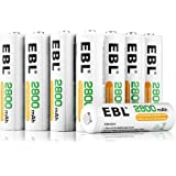 EBL 8er Pack 2800mAh AA Wiederaufladbare Batterie NI-MH Akku 1200 Ladezyklen Geringe Selbstentladung mit Aufbewahrungsbox
