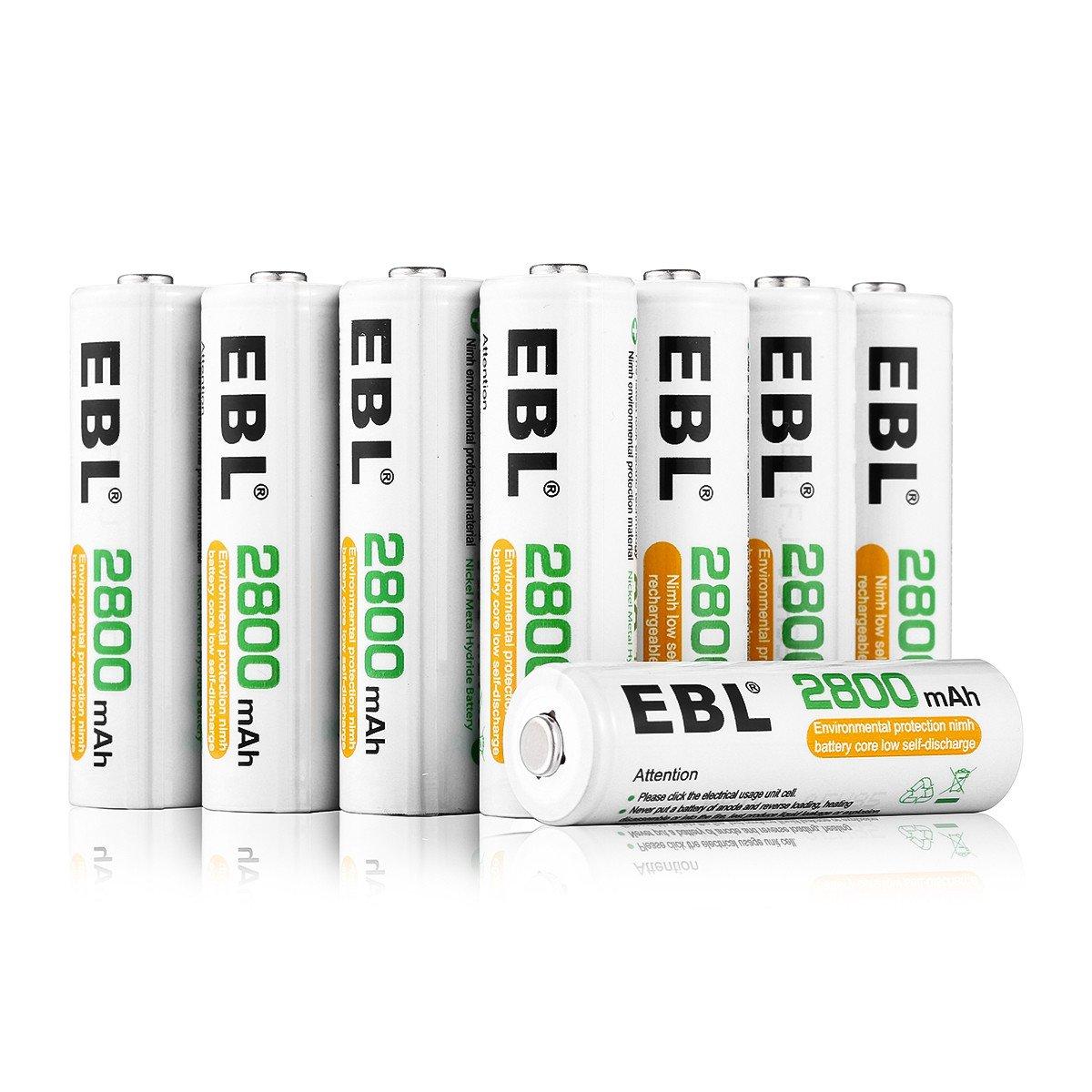 EBL 8er Pack 2800mAh wiederaufladbare Batterien AA Akku Ni-MH Akku 1200 Ladezyklen geringe Selbstentladung mit Aufbewahrungsbox