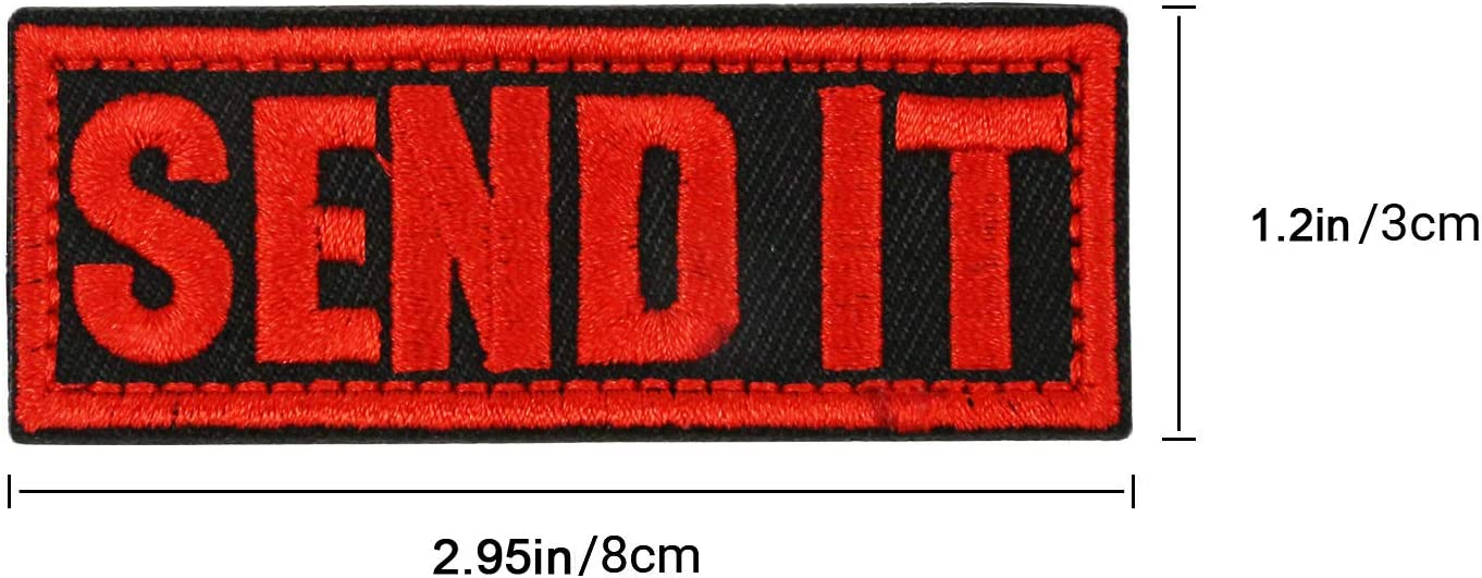 2.95 x 1.2in Tactical Gears,Hat,Bags,Backpacks,Clothes,Vest,Military Uniforms Red Zhikang68 Send It Patch Tactical Morale Biker Applique Military Sew On Embroidered Badge Emblem for Operator Baseball Cap