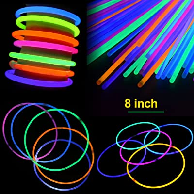 200 Pcs 8'' Glow Sticks Set with Connectors Light-Up Glow Necklaces Glow Bracelets Mixed Color for Kids Glow Stick Party Pack