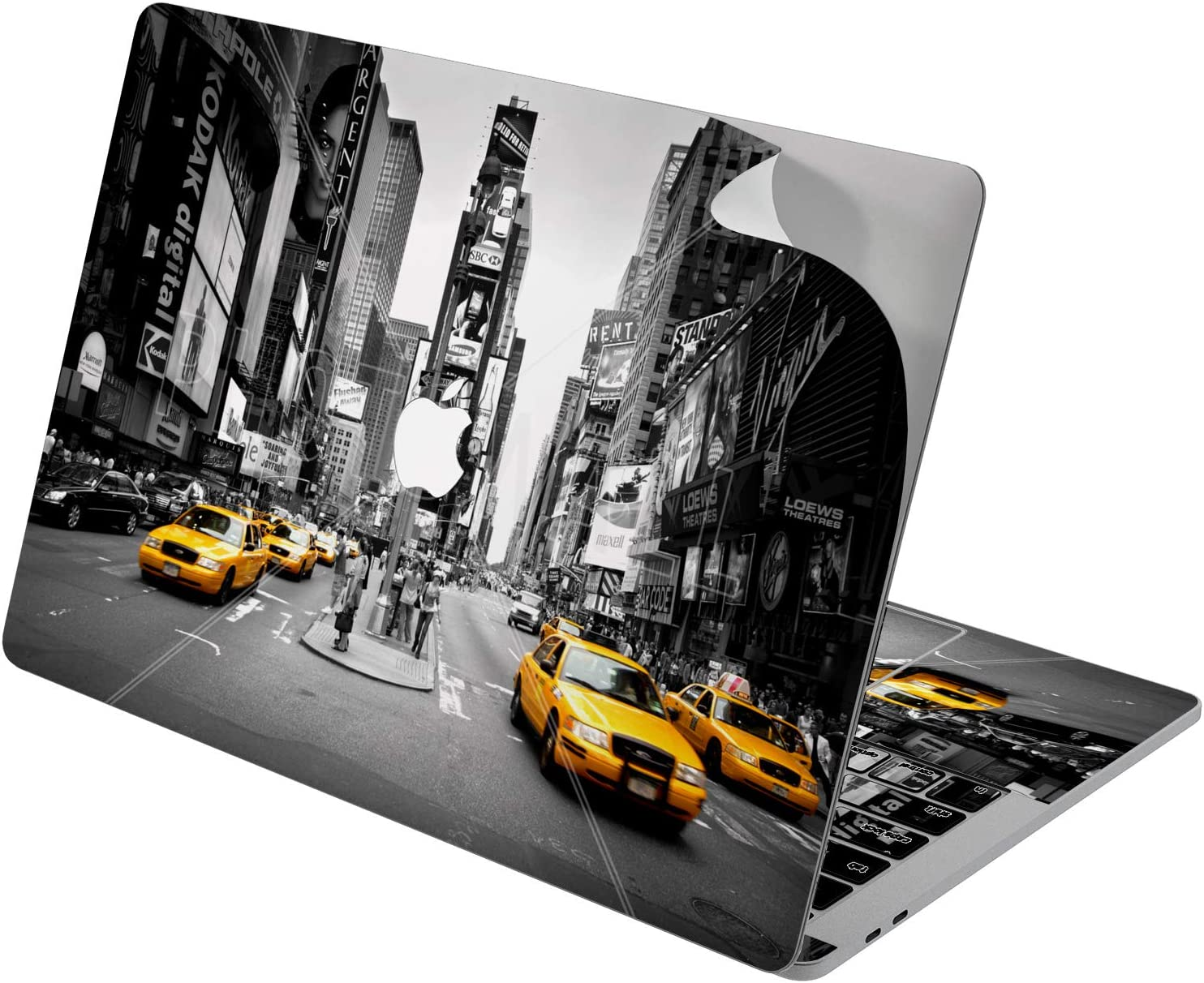 "Cavka Vinyl Decal Skin for Apple MacBook Pro 13"" 2019 15"" 2018 Air 13"" 2020 Retina 2015 Mac 11"" Mac 12"" New York City Print Times Square Street Nightlife Laptop Cover Design Cool Sticker Protective"