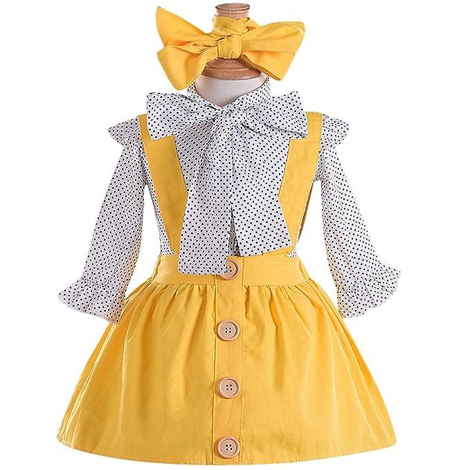 4df4daad0708 Kids Baby Girl 3pcs Outfits Polka Dot Ruffles Sleeve Bowknot Shirt Top+ Suspender Braces Skirt