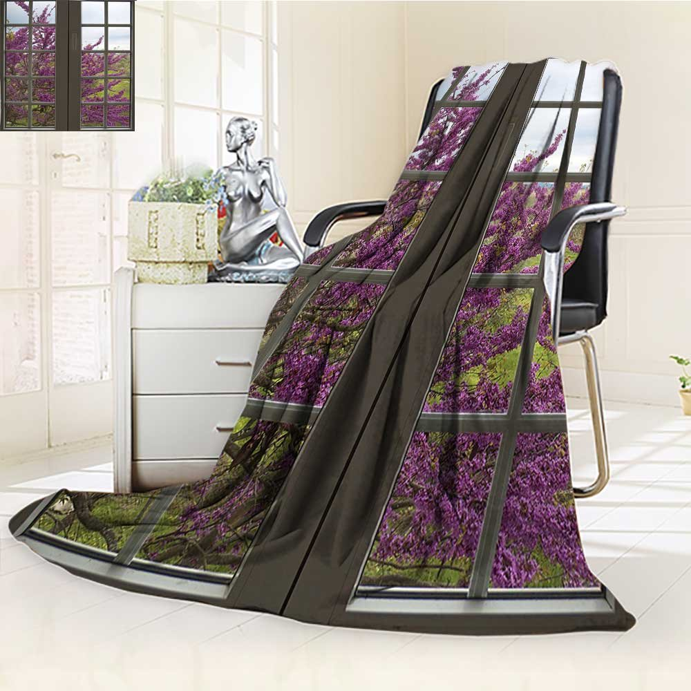 YOYI-HOME Soft Warm Cozy Throw Duplex Printed Blanket The Window to The Countryside and Flowers Spring Blooms Branches Image Print Gray Purple Fuzzy Blanket s for Bed or Couch/W59 x H79
