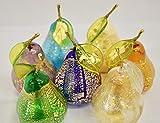 Murano Glass Blown Pear Amber
