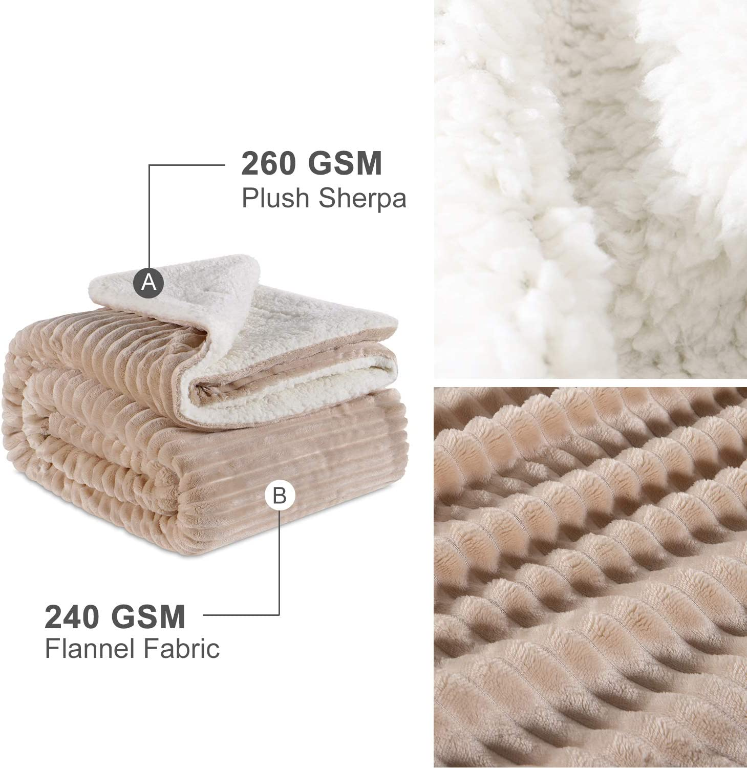 Grey, 30x40 EMME Baby Blanket Fuzzy Sherpa Fleece Blankets Soft Warm Receiving Blankets for Toddler Decor Nap Stroller Boys and Girls Gift Reversible Cozy Blanket for Crib Infant Outdoor