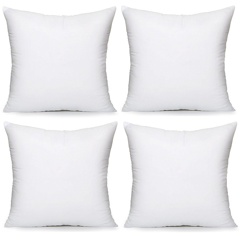 Acanva Hypoallergenic Pillow Insert Form Cushion Sham 28-4Pack, White 4 Piece